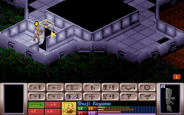 X-COM: UFO Defense Windows Inside an alien ship, eye-to-eye with a grey.