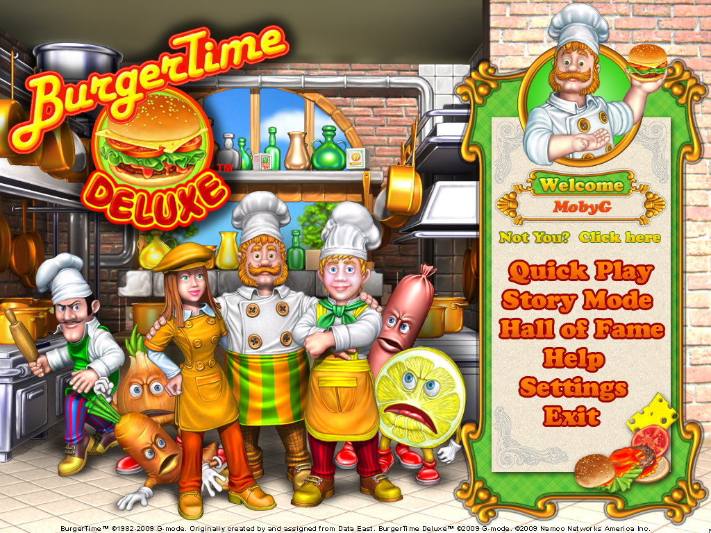 BurgerTime Deluxe Windows Main menu