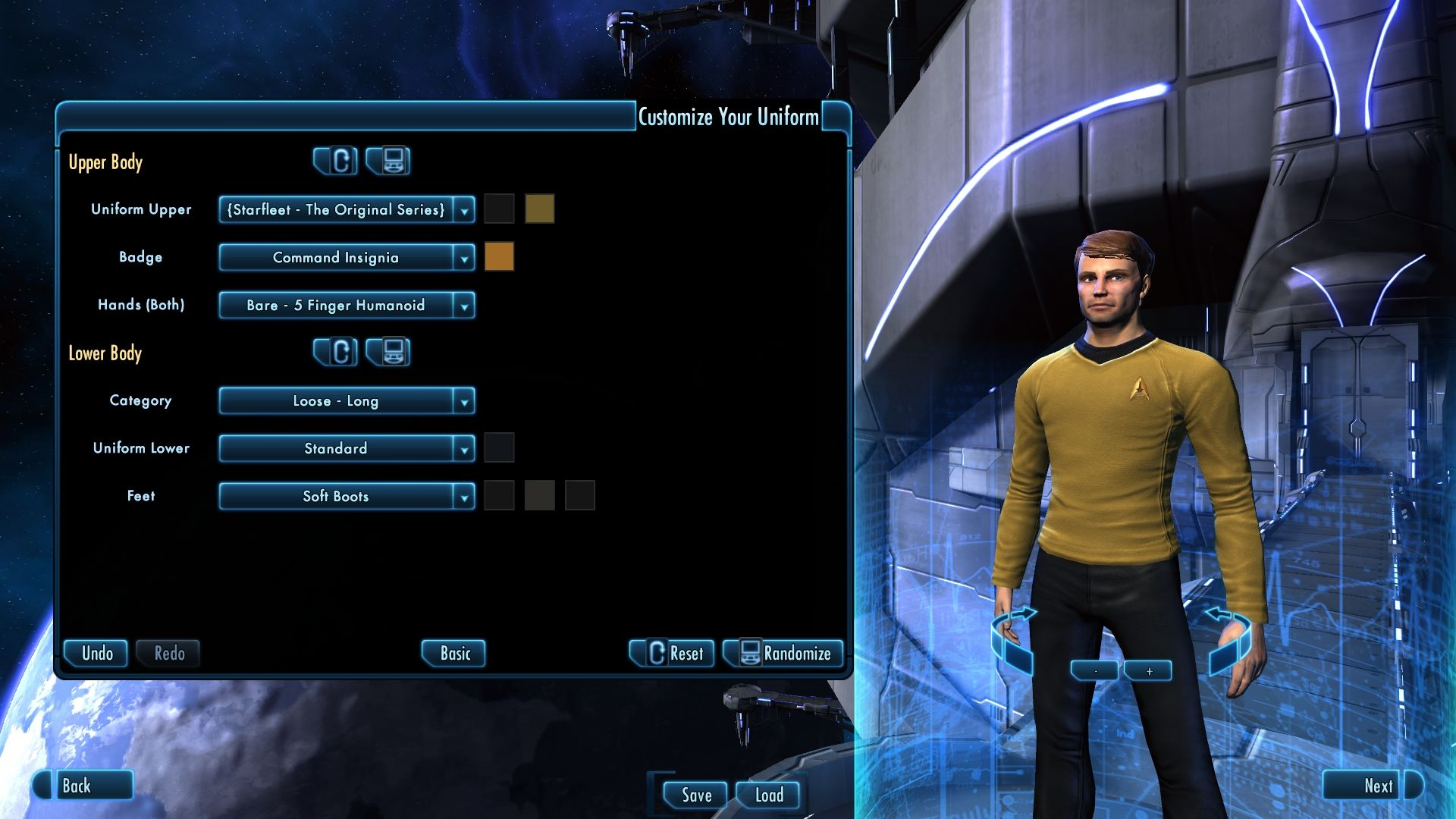 Star Trek Online (Digital Deluxe Edition) Windows Male human character with TOS uniform.