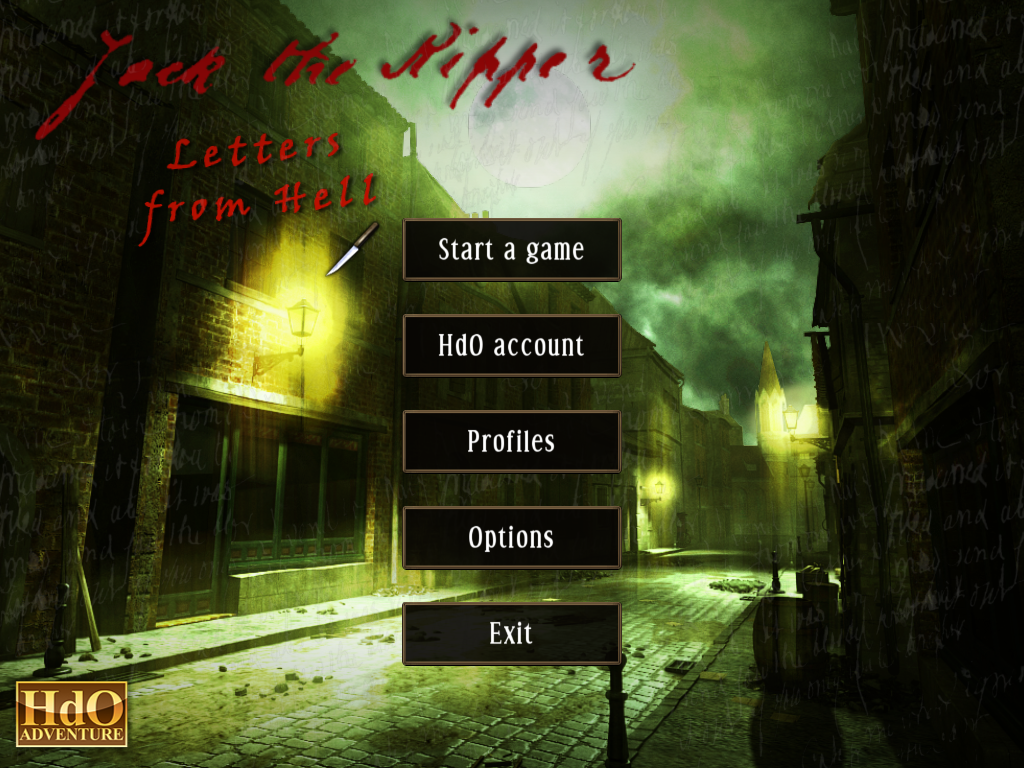 Jack the Ripper: Letters from Hell Windows Main menu