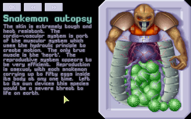 X-COM: UFO Defense Windows Finding out about enemy life-forms.