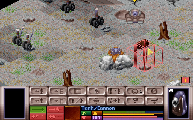 X-COM: UFO Defense Windows Tank versus snakeman on a barren wastes.