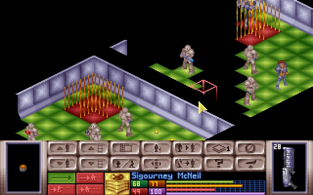 X-COM: UFO Defense Windows Entering an alien base... notice how your squad have different combat suits equipped.