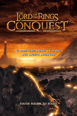 The Lord of the Rings: Conquest Nintendo DS Title screen.