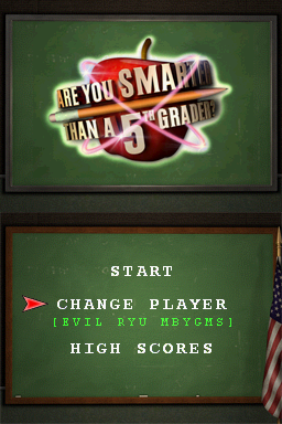 Are You Smarter Than a 5th Grader? Nintendo DS Title screen with main menu.