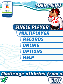 Vancouver 2010: Official Mobile Game of the Olympic Winter Games J2ME Main menu