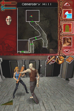 Buffy the Vampire Slayer: Sacrifice Nintendo DS Ingame - fighting against a vampire