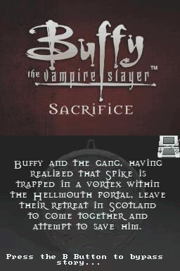 Buffy the Vampire Slayer: Sacrifice Nintendo DS Mission briefing