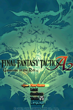 Final Fantasy Tactics A2: Grimoire of the Rift Nintendo DS Title screen with main menu.