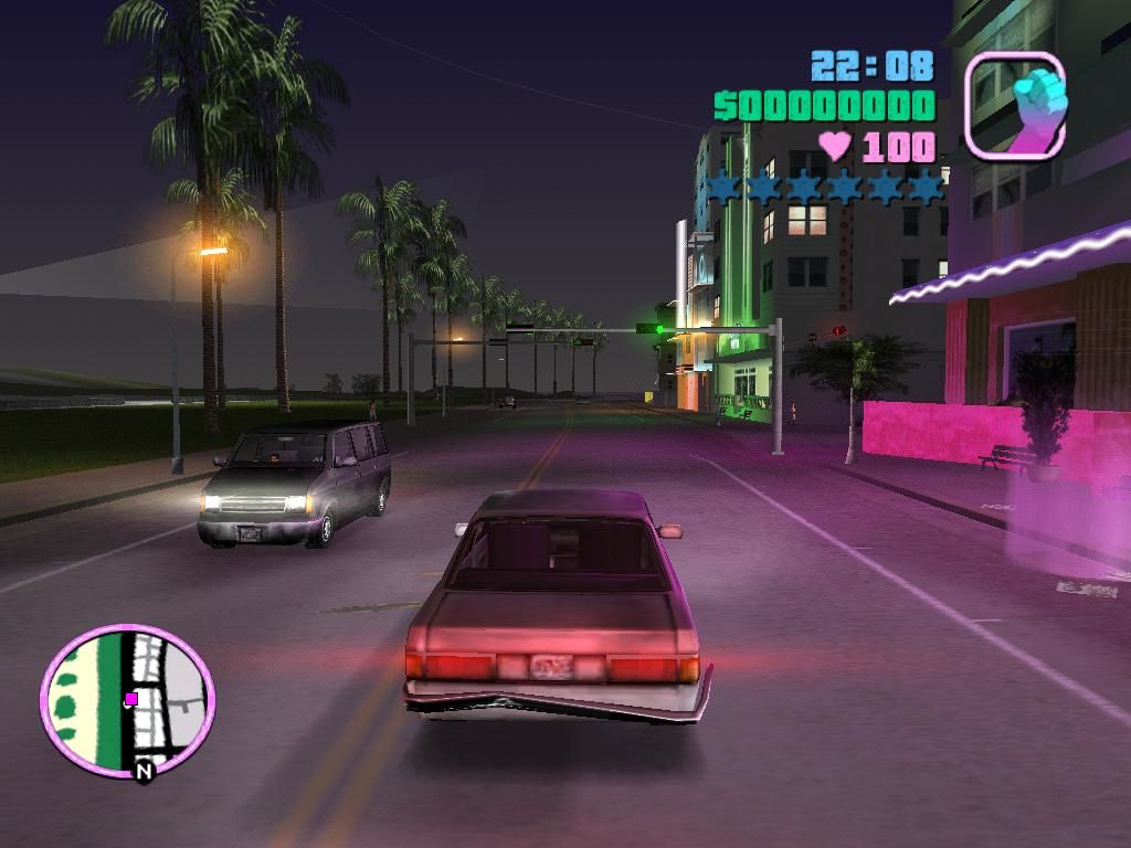 Grand Theft Auto: Vice City Windows Cruising along the strip at night.