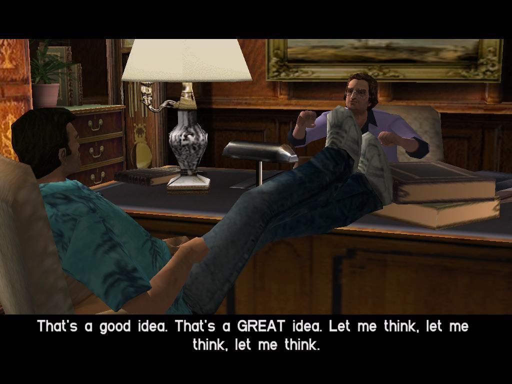 Grand Theft Auto: Vice City Windows The main character, Tommy, being introduced to his first contact, Ken Rosenberg.