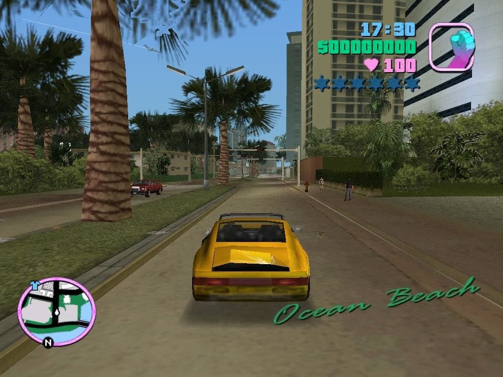 Grand Theft Auto: Vice City Windows Vice City is much more exotic than Liberty City.  Palm trees line a majority of the streets.