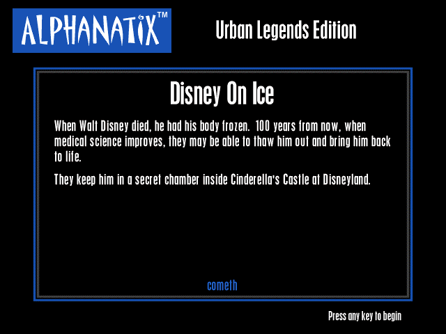 AlphaNatix: Urban Legends Edition Windows Disney On Ice