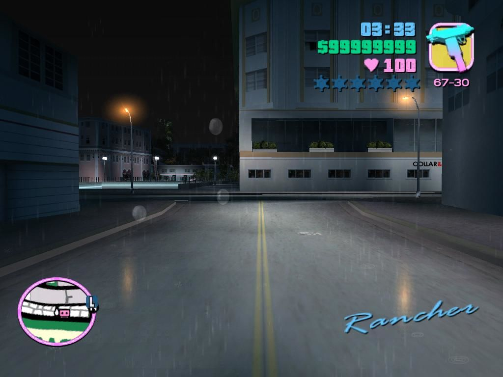 Grand Theft Auto: Vice City Windows Rain makes the city look cool, but it impacts your traction, and you will slide more.