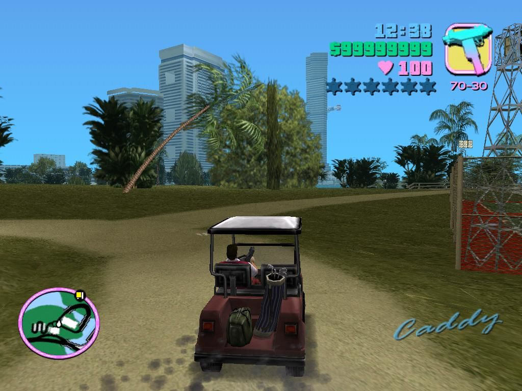 Grand Theft Auto: Vice City Windows There's just something appealing about driving a golf cart, with an uzi, while wearing plaid golf clothes.