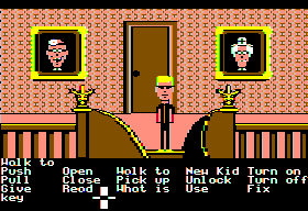 Maniac Mansion Apple II Upstairs hallway.