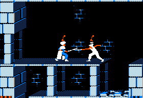 Prince of Persia Apple II Level 2 - Sword fighting with a guard.