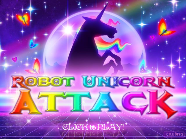 Robot Unicorn Attack Browser Welcome screen
