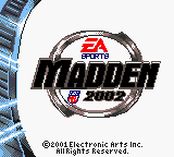 Madden NFL 2002 Game Boy Color Title screen.