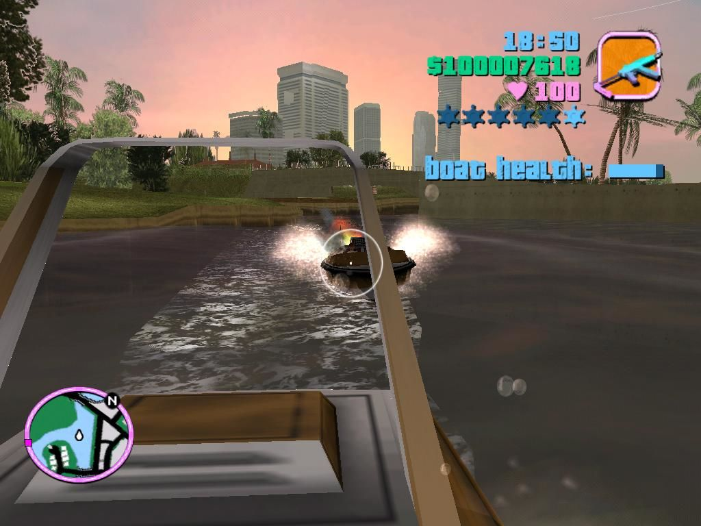 Grand Theft Auto: Vice City Windows Protecting the boat on the way back home.  Let's hope Lance knows how to steer it.