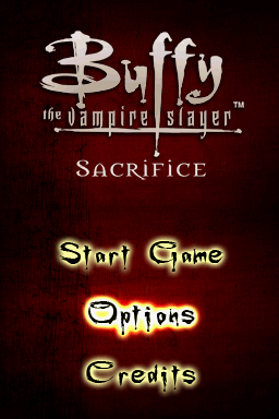 Buffy the Vampire Slayer: Sacrifice Nintendo DS Title screen with main menu.