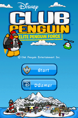 Club Penguin: Elite Penguin Force Nintendo DS Title screen with main menu.