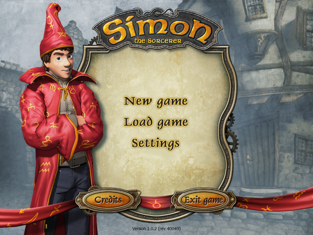 Simon the Sorcerer: Who'd Even Want Contact?! Windows Title screen & opening menu