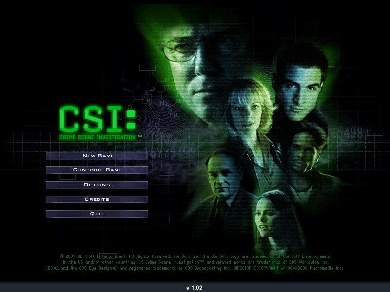 CSI: Crime Scene Investigation Windows main screen