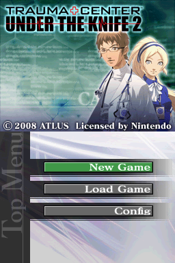 Trauma Center: Under the Knife 2 Nintendo DS Title screen with main menu.