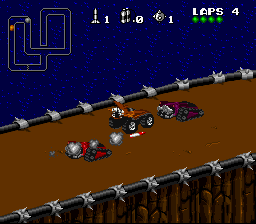 Rock n' Roll Racing SNES The beginning of a race can be very dangerous, with all drivers firing missiles and laying mines.