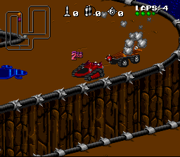 Rock 'n Roll Racing SNES Using a mine to get rid of a follower