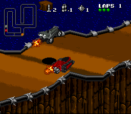 Rock 'n Roll Racing SNES Using the boost