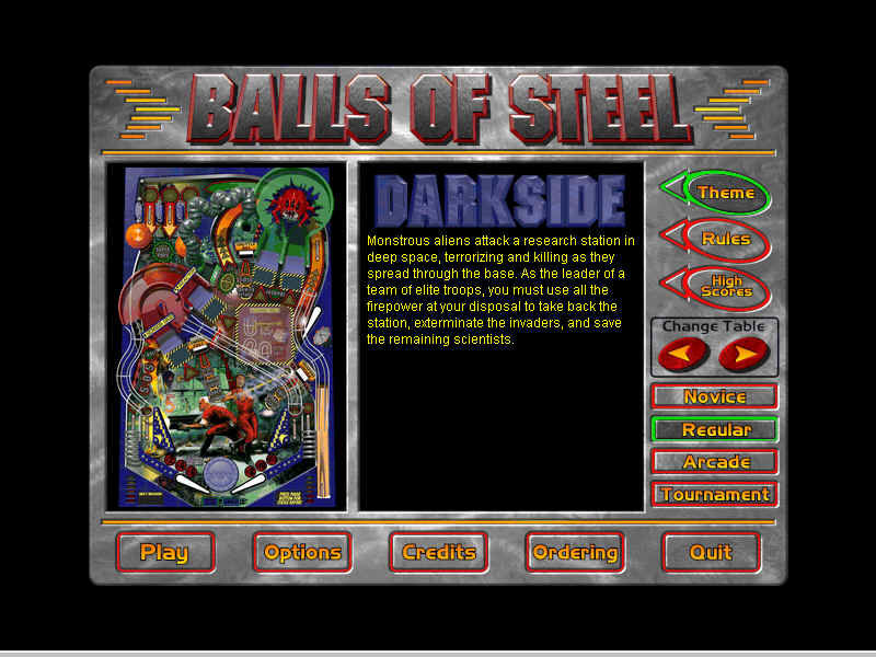 Balls of Steel Windows Main menu