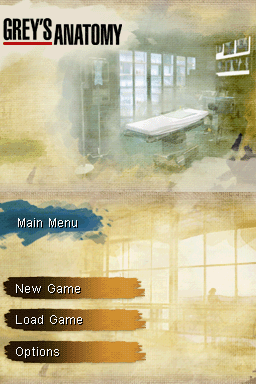 Grey's Anatomy: The Video Game Nintendo DS Title screen with main menu.