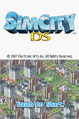 SimCity DS Nintendo DS Title screen.