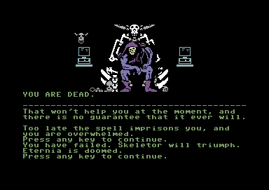 Masters of the Universe: Super Adventure Commodore 64 She killed me. Skeletor will rule and Eternia is doomed.