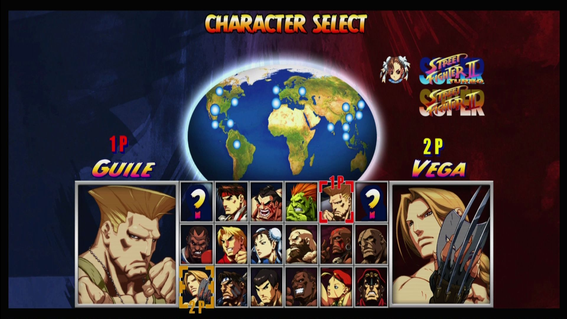 Super Street Fighter II Turbo HD Remix Xbox 360 Select a character, with multiple color variations from the different releases.