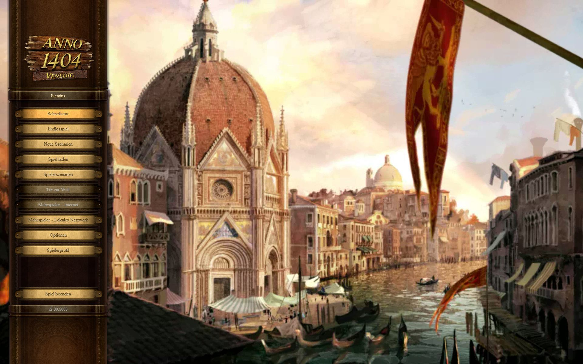 Dawn of Discovery: Venice Windows Main Menu