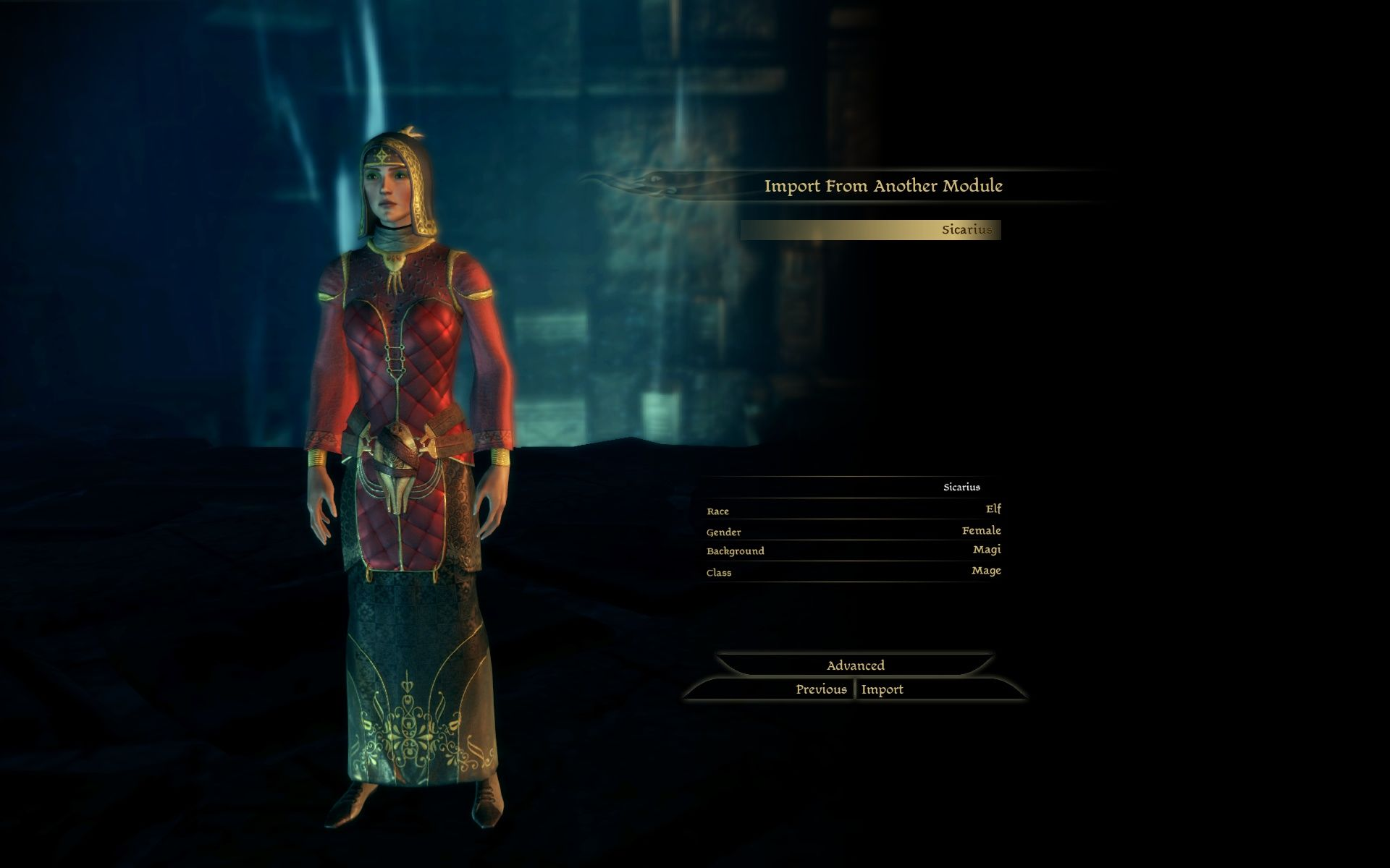 Dragon Age: Origins - Awakening Windows The character-import screen is simple.