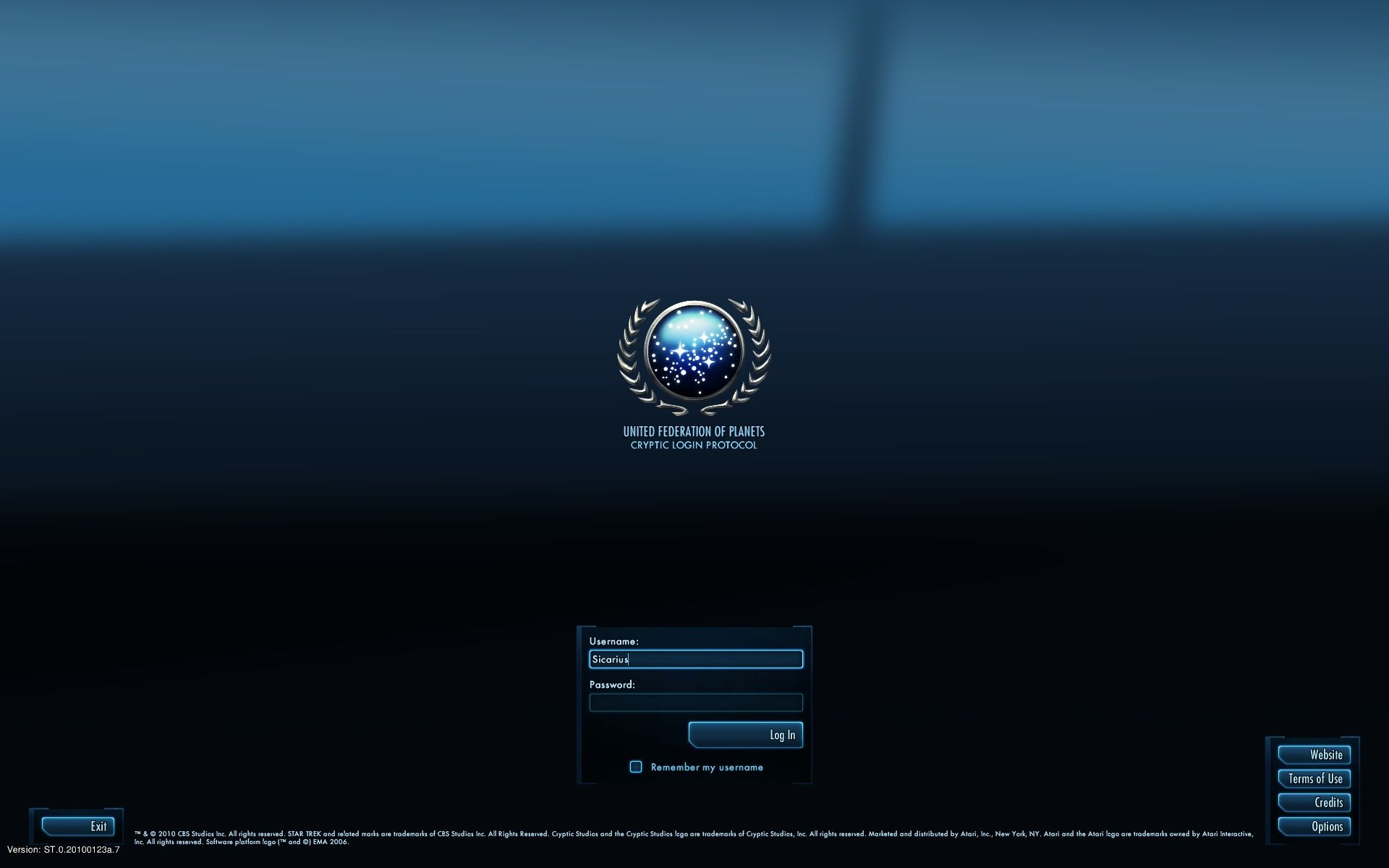 Star Trek Online Windows Main Menu