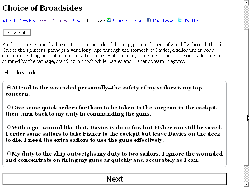Choice of Broadsides Browser These choices will determine what kind of character the player controls