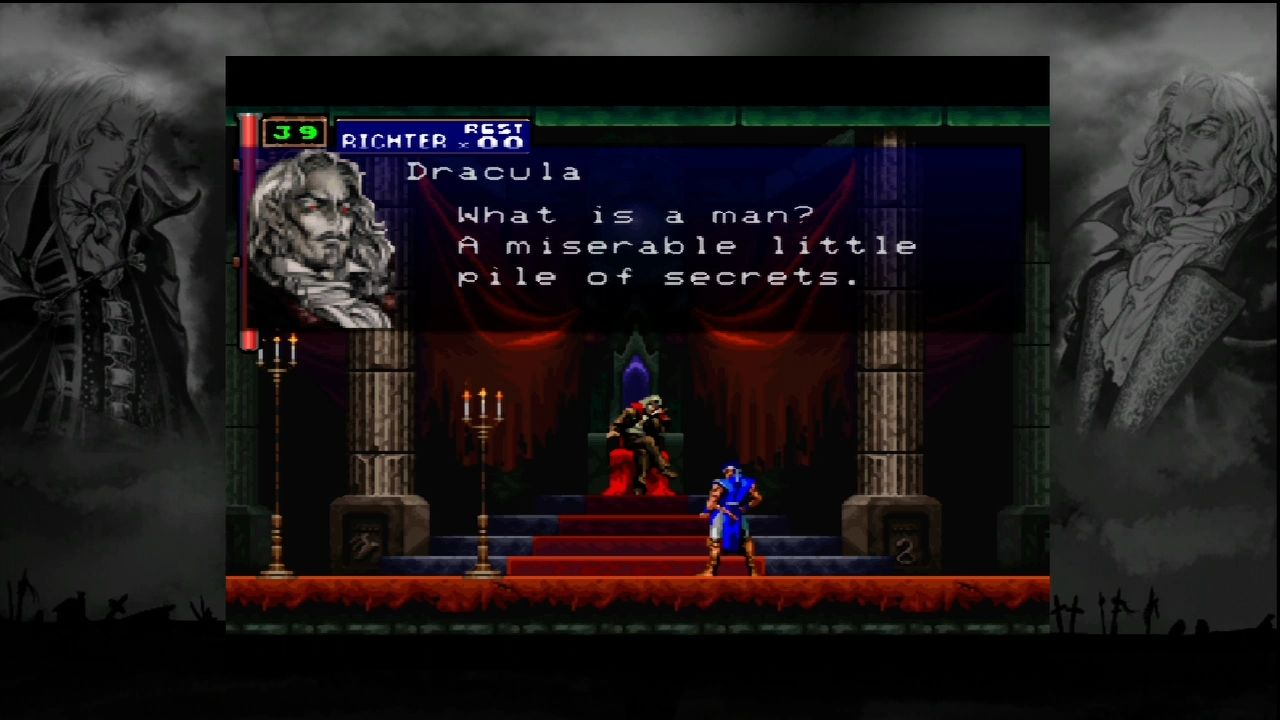 Castlevania: Symphony of the Night Xbox 360 Dracula delivers the famous Andre Malraux quote. Voice acting is retained for the port.