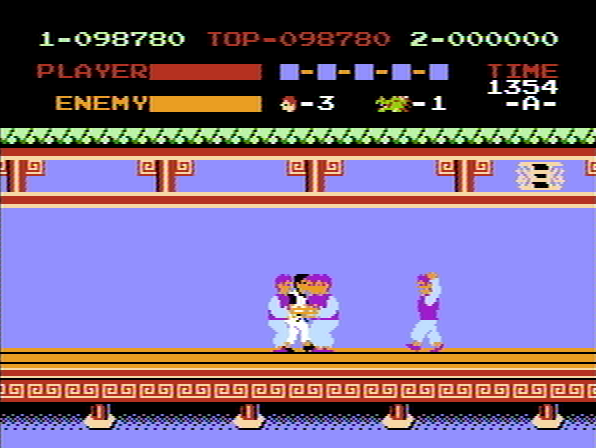 Kung-Fu Master NES 4some scene - a pack of enemies grabbing Thomas.
