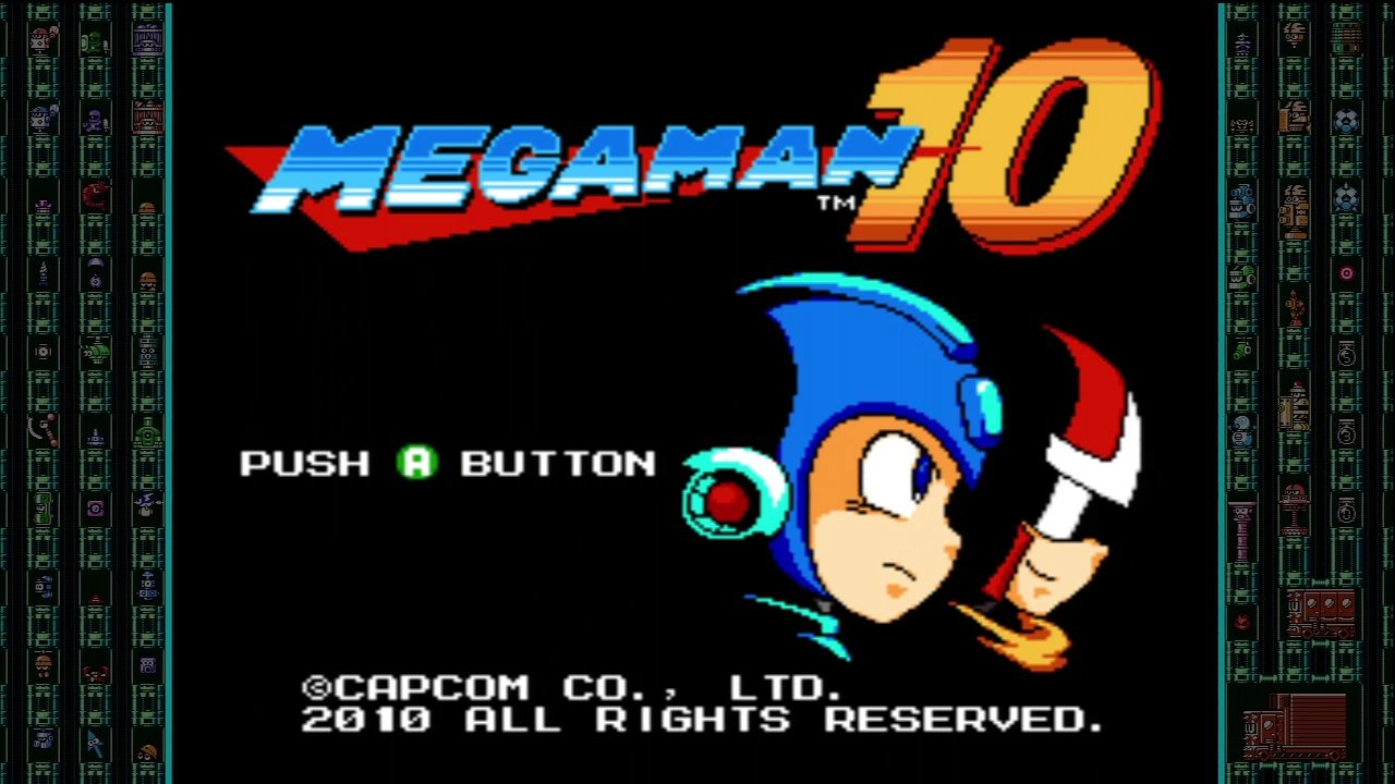Mega Man 10 Xbox 360 Title screen.