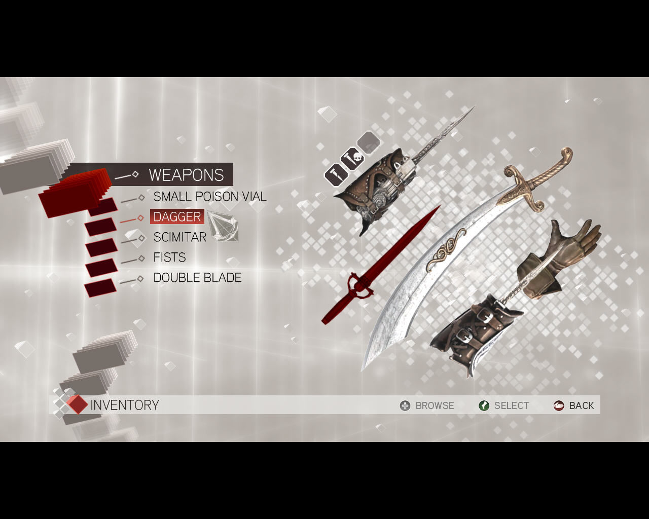 Assassin's Creed II Windows Ezio's inventory. This scimitar looks impressive, right?