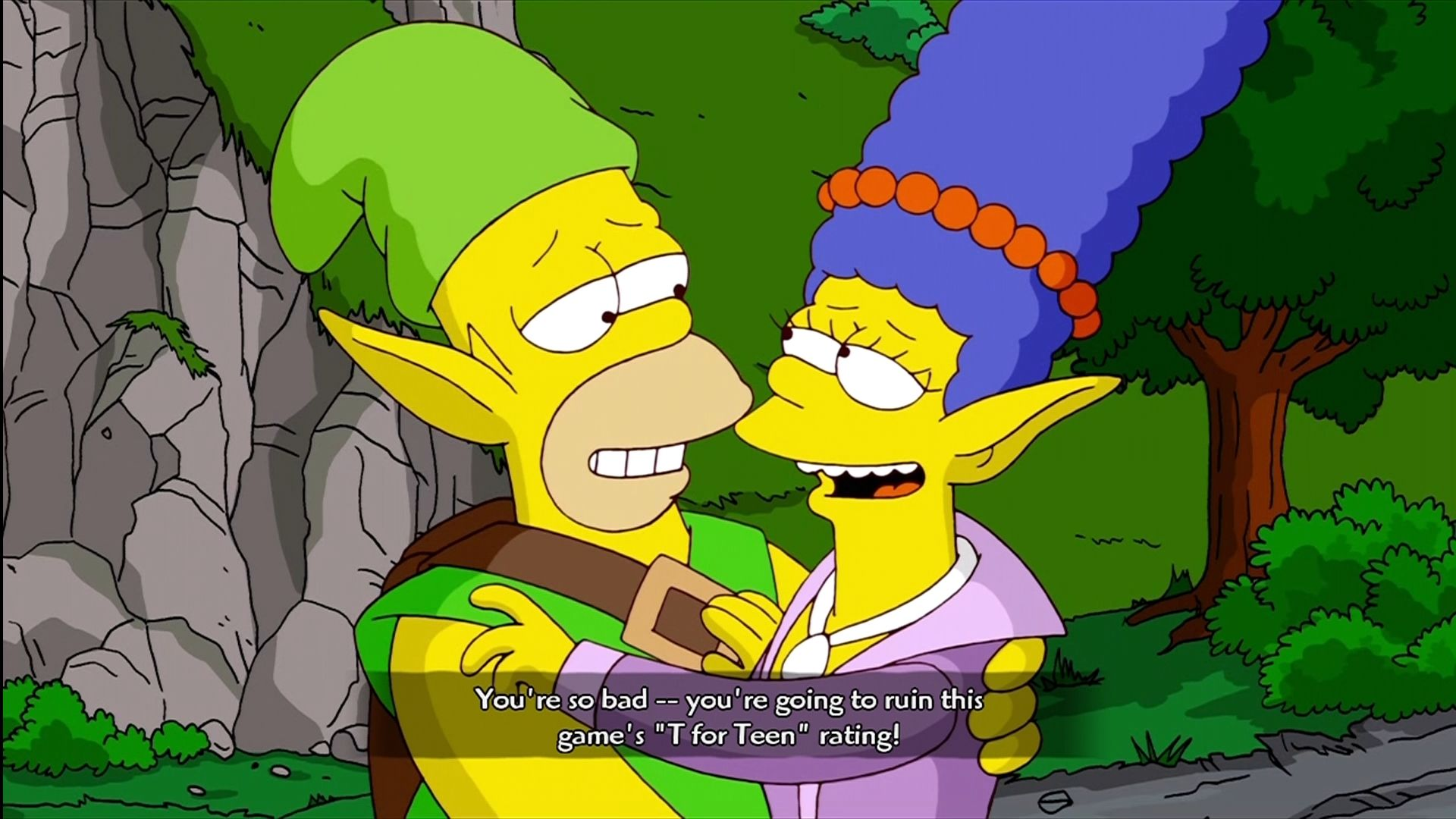 The Simpsons Game Xbox 360 Homer and Marge in an Everquest parody.