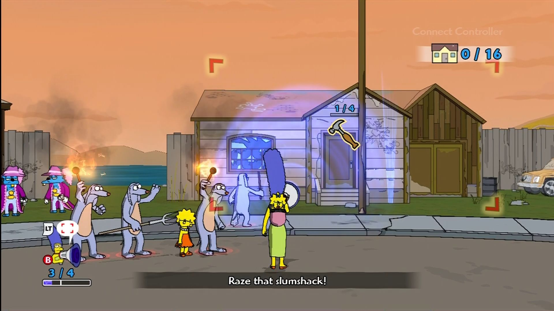The Simpsons Game Xbox 360 Marge's power is to amass and direct a mob.