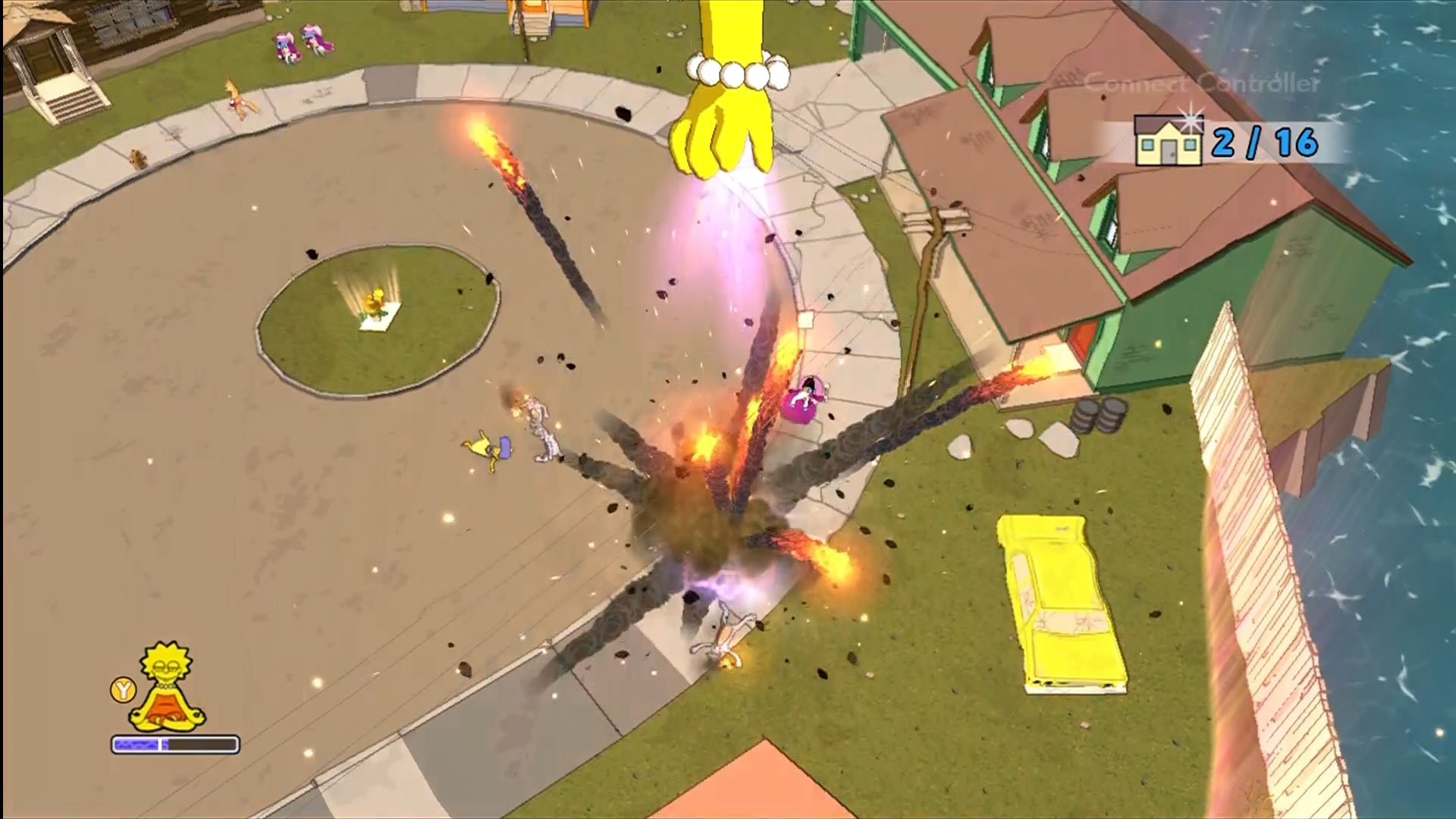 The Simpsons Game Xbox 360 Lisa can enter a trance at Buddhist statues and manipulate the level.