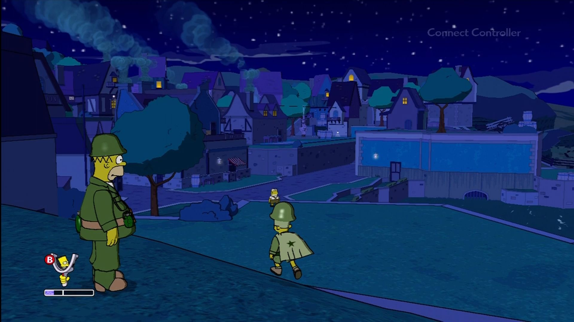 The Simpsons Game Xbox 360 Homer, Bart, (and Abe Simpson) in a Medal of Honor parody.