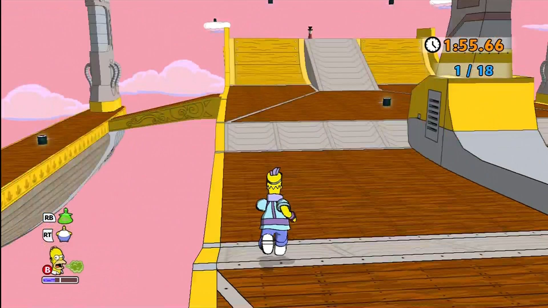 The Simpsons Game Xbox 360 Every level also has its own set of challenge modes. Eat all the sushi before time runs out!